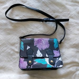 Black floral crossbody bag